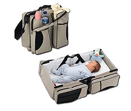 3 in 1 Diaper Bags Portable Crib Changing Station & Travel Bassinet 516