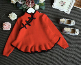 Red Retro Collared Sweater 674