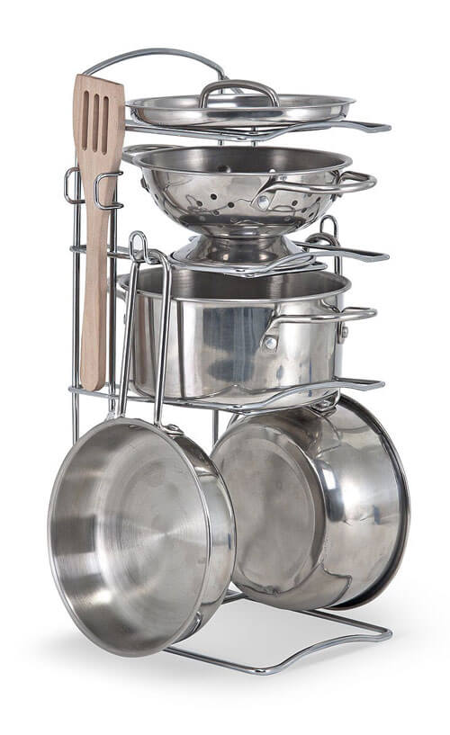 Stainless Steel Pretend Play Kitchen Set for Kids 1074