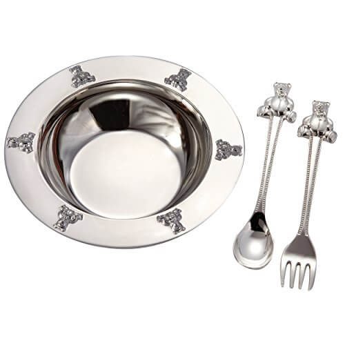 Silver Plated Feeding Bowl With Cutleries 1937