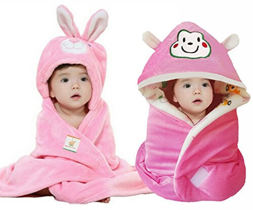 Hooded Bunny Baby Blanket (Pack Of 2) 2155