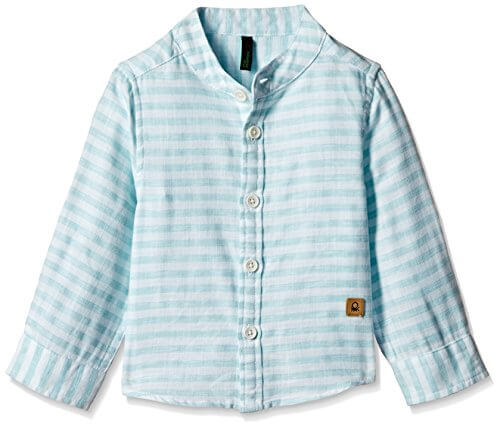 United Colors of Benetton Blue N White Stripes Shirt 2937