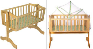Wooden Cradle With Mosquito Net 2874