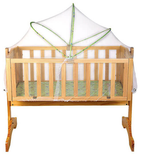 Wooden Cradle With Mosquito Net 2875